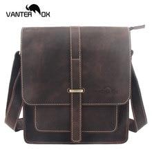 VANTER OX Men's Shoulder Bags Genuine Leather Male Casual Shoulder Messenger Bag Cowhide Fashion Satchel Bag For Men