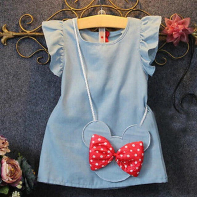 Girls Dress 2018 Summer Explosion Solid Color Denim Dress Cartoon Polka Dot Bow Cartoon Bunny Satchel Korean Baby Cute Dress(China)
