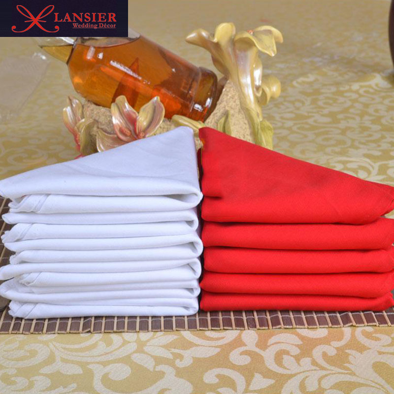 100% Cotton red dinner table white and red napkin wedding decoration event banquet party 48 cm x 48 cm 20 pieces a lot