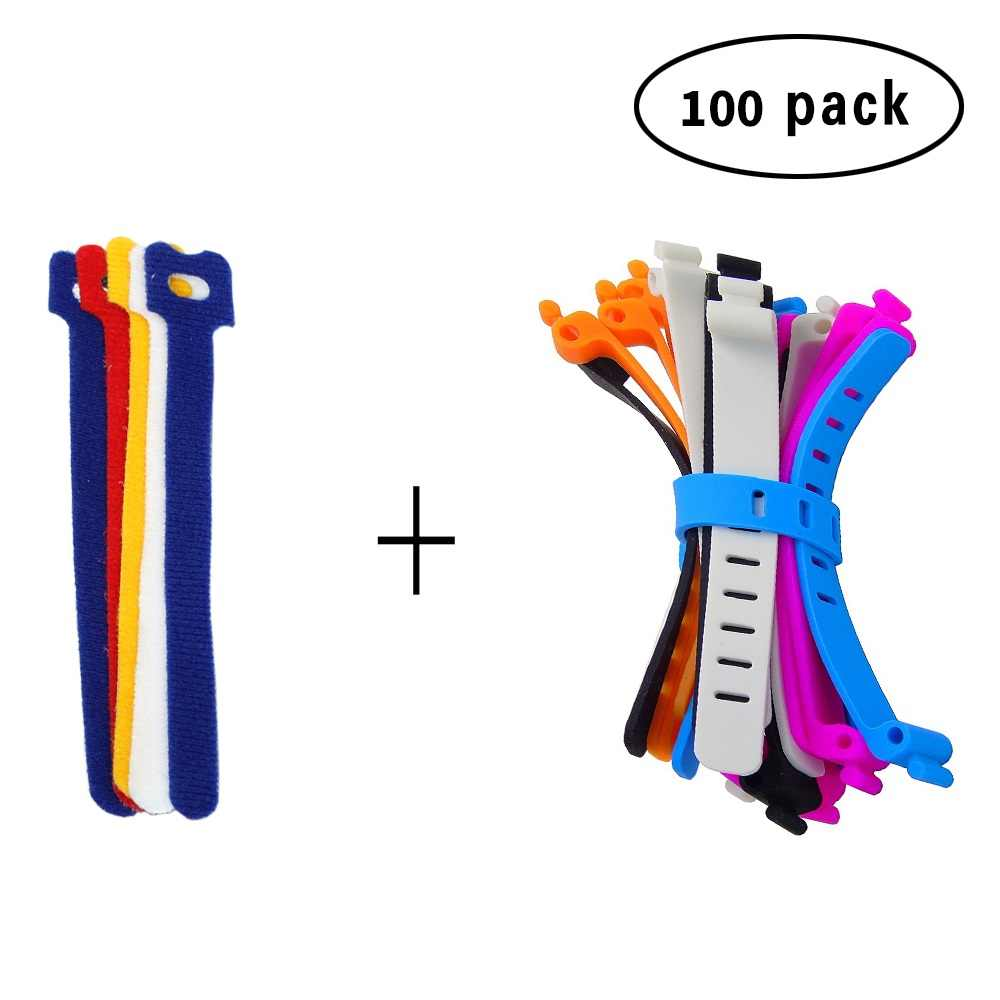 60 PCS Reusable Hook และ LOOP Fastening CABLE TIES พร้อมผ้าไมโครไฟเบอร์และ 40PCS ซิลิโคนกระเป๋า TIES CABLE Management