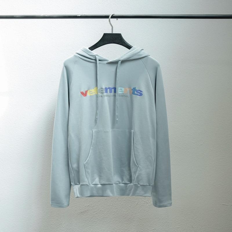 2018 F/W Top Version Vetements arc-en-ciel Logo imprimé femmes sweat-shirt à capuche pour hommes pull Hiphop Bieber Vetements hommes à capuche
