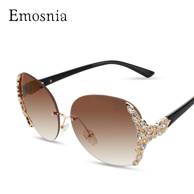 Emosnia 2017 Sunglasses Women Diamond Oversized Shield Glasses Gradient Vintage Brand Designer Eyeglasses Frames Rimless Glass