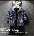 Spring  2016 new street tidal range of children personalized girls sequins short denim jacket
