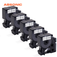 Absonic 5PCS 19mm IND Vinyl Label DYMO Rhino 18445 Black on White Label Tapes Industrial Cartridge For Rhino 4200 5200 Printer
