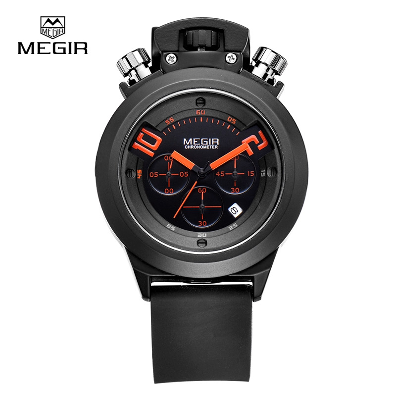MEGIR Black Quartz Watches Chronograph 6 Hands Men Fashion Watch Silicone Luxury Auto Date Wristwatch Men Military Relogio 2004 60%off fashion silicone bracelet watch olevs men classic design military watches quartz auto date diver sports wristwatch 2017