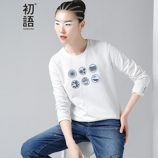 Toyouth camisetas de las mujeres del nuevo algodón del o-cuello bordado de manga larga camiseta floja tops
