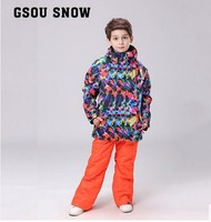 Gsou Snow Girls Ski Suit Set Big Child Skiing Suit Childrens Snowboarding Suit Kids Painting Jackets