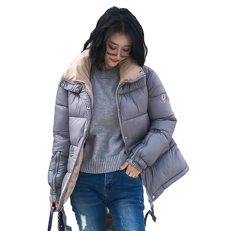 Women Jacket Winter Casual Cotton Padded   Parka   Fashion Stand Collar Solid Warm Black Puffer Jackets