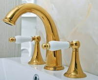 Deck Mounted 3 Holes Bath Tub Mixer Tap Gold Color Polished Brass Widespread 2 Handles bathroom basin Faucet agf022