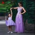 Lavanda roxo Mãe E Filha Jogo Formal Evening Prom Dress 2017 Lace Apliques Tulle Elegante Longo Partido Pageant Vestidos