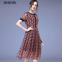 MUSENDA Plus Size Kobiety Czerwona Szyfonowa Drukuj Tunika Maxi Sundress Plisowana Sukienka 2018 Lato Odzież Damska Sukienki Plażowe Ubrania 5XL