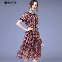 MUSENDA Plus Size Women Red Chiffon Print Tunic Maxi Pleated Dress 2018 Summer Sundress Ladies Fashion