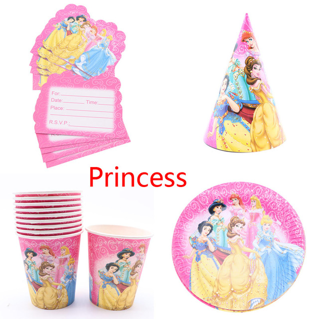14fc2c62b4b Six Princess disposable tableware Theme Snow White Birthday Party  Decoration Cup Hat party supplies for home