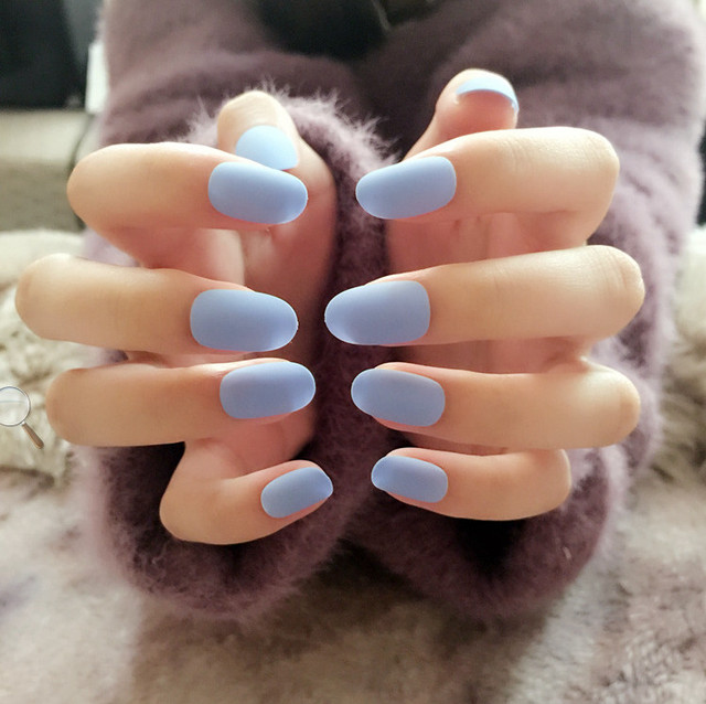 Fashion Fake Nails Cool blueStyle 24pcs Short Nails Tips with Designs  Popular Color False Nail Art - Fashion Fake Nails Cool BlueStyle 24pcs Short Nails Tips With