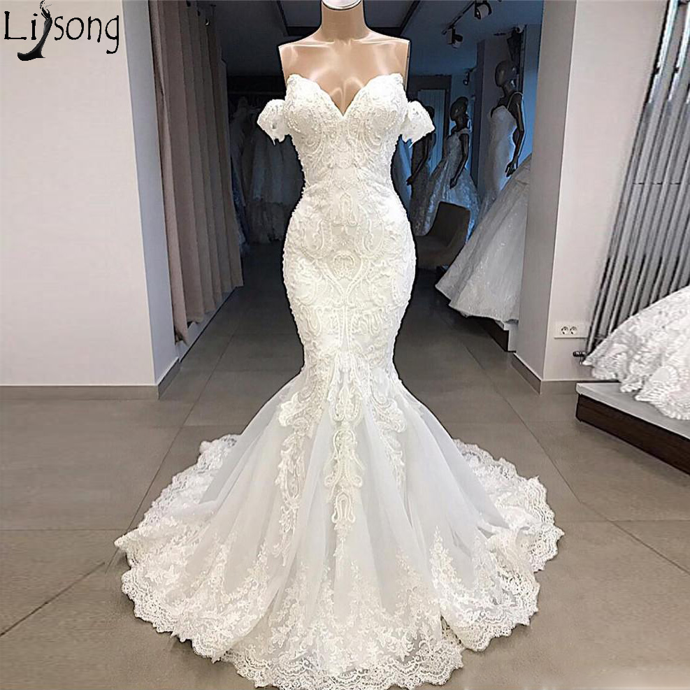 New Arrival Real Image Wedding Dress 2019 Mermaid Sweetheart Off Shoulder Lace Appliqued Beads Bridal Wedding Gowns Custom Made