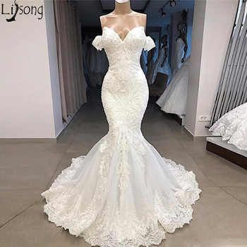 New Arrival Real Image Wedding Dress 2019 Mermaid Sweetheart Off Shoulder Lace Appliqued Beads Bridal Wedding Gowns Custom Made - DISCOUNT ITEM  12 OFF Weddings & Events