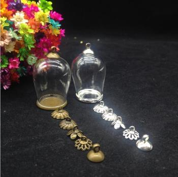 20sets/lot 30*18mm Clear Large Dome Cloche Glass Bottle Pendant DIY Antique ordinary tray Top Terrar