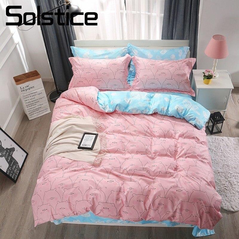 c58317caf4b El solsticio de textiles para el hogar chica chico niño ropa de cama  conjunto Piggy Rosa funda nórdica Azul De Almohada caso reina completo Doble  ropa de ...