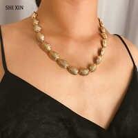 SHIXIN Metall Fan Schalen Halskette für Frauen Verlängern Seil Kurze Choker Halsketten Weibliche Personalisierte Halsketten 2019 Mode Schmuck