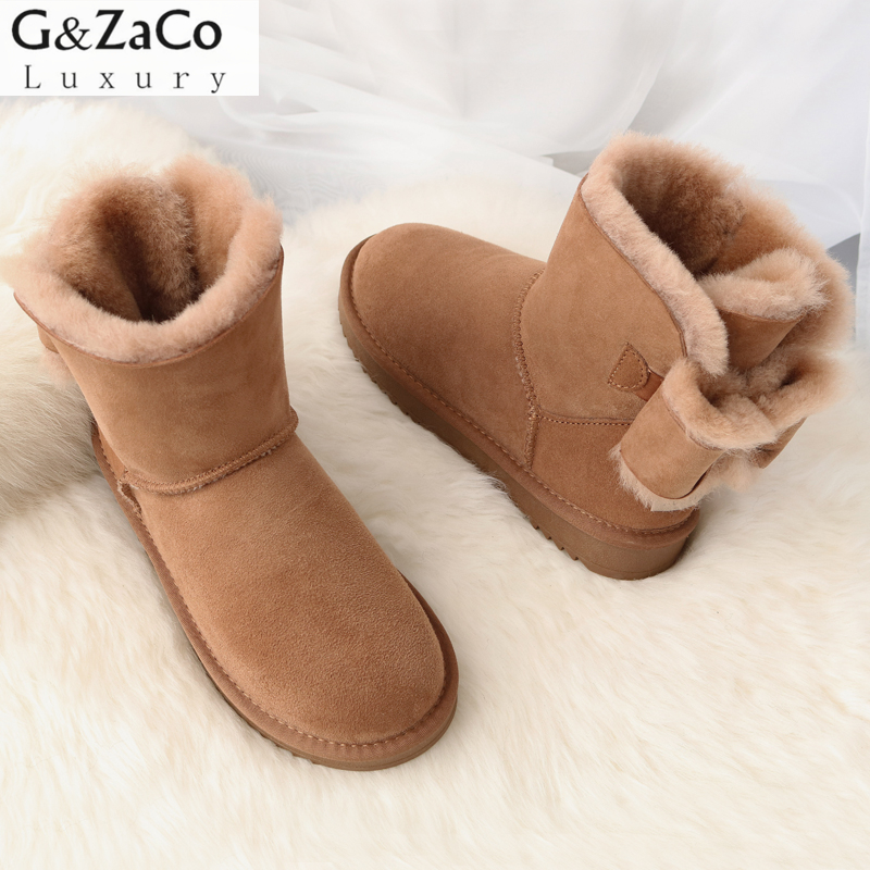 G&ZaCo Luxury Sheepskin Snow Boots Sweet Sheep Bow Ankle Boots Suede Sheep Genuine Leather Short Boot Winter Women's Shoes