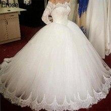 Erosebridal Lace Long Sleeve Wedding Dress 2019 Edge robe de mariee with Chapel Train Simple Design Custom Made Size