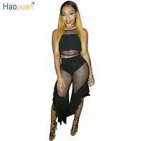 HAOYUAN Two Piece Set Sexy Ruffle Mesh Crop Top And Shorts Club 2017 Summer Women Outfits