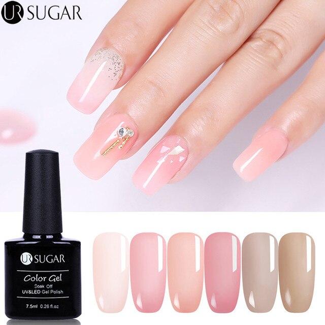 US $1.41 41% OFF|UR SUGAR Jelly Pink Gel Nail Polish Translucent Pink Color  Gel Semi Permanent Soak Off UV Gel Polish 7.5ml Nail Art Varnish-in Nail ...