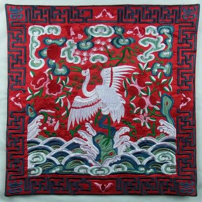 Полностью вышитые китайские наволочки для подушек, рождественские декоративные этнические винтажные сатиновая подушка для дивана и стула - Цвет: Красный