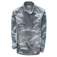 Dudalin Camisa Jeans Masculina Denim Long Sleeve Aramis Jeans Shirts High Quality Blue Modern Simple Classical