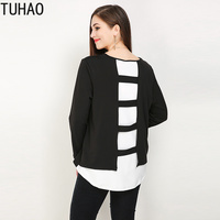 TUHAO spring Blouse Shirt High Quality Women Plus Size 7XL 6XL 5XL Casual Tops Blusas Feminino 2019 Blouses Black Shirts RL