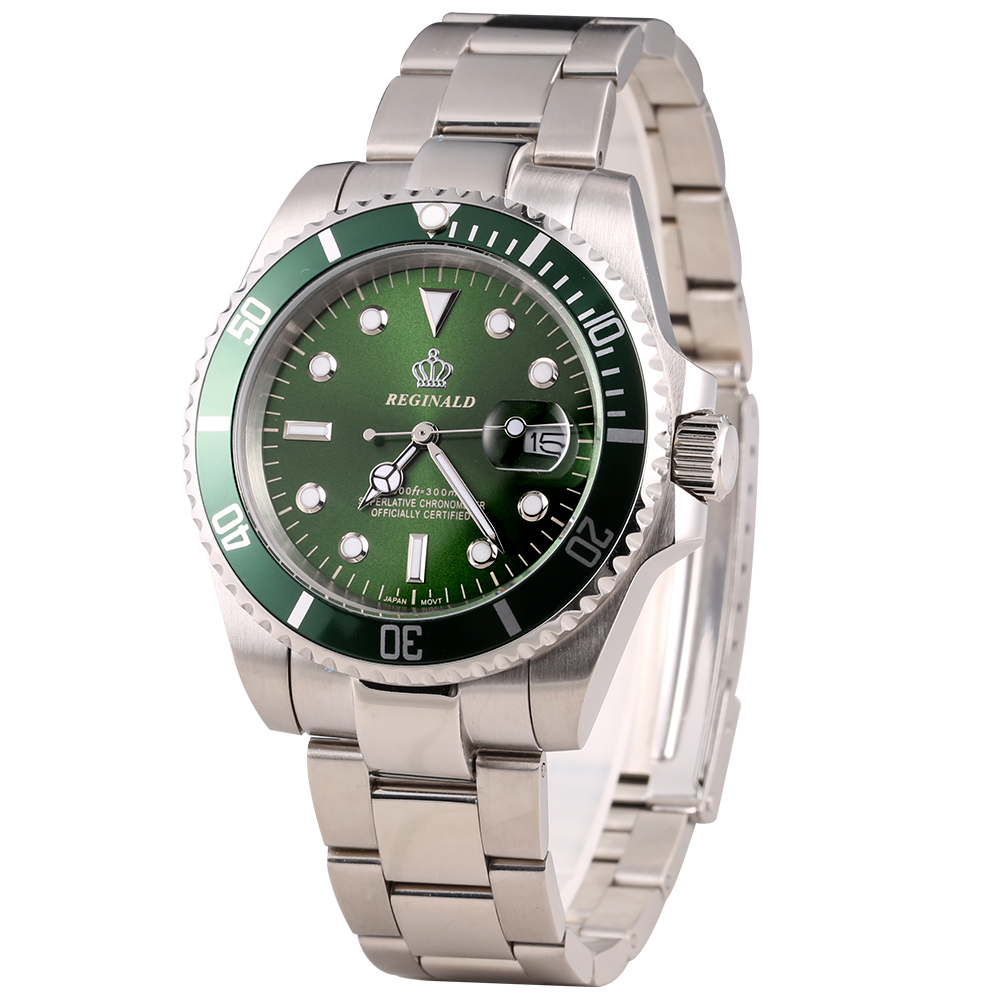 Luxury Reginald Watch Men Rotatable Bezel GMT Sapphire Glass Date Stainless Stee