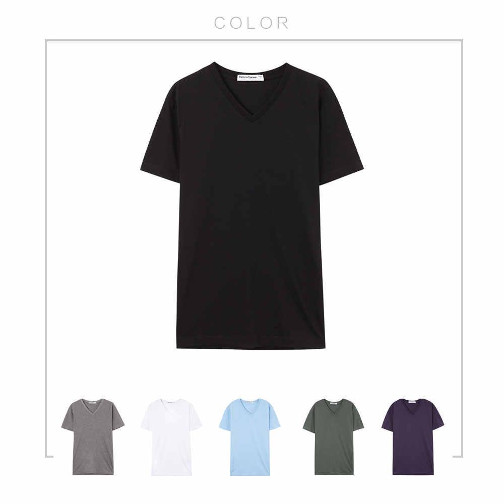 METERSBONWEtrend V-צוואר גברים קיץ חולצה גרסה קוריאנית Slim קצר שרוול