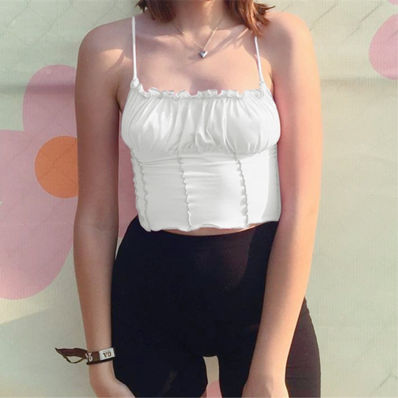 Women Summer Sling Vest Camisole Halter Solid Color Short Top Ins Sexy Elegant Clothing Slim Top T Shirt Seaside Wear in Camis from Women 39 s Clothing