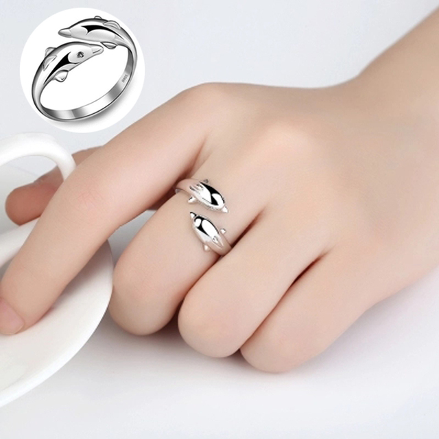 Double Dolphin Silver Color Adjustable Rings for Women Fashion Cute Party Charm Ring for Female Engagement Ring 2018 Bague Femme