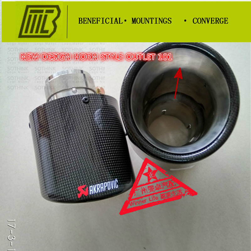 Car Styling 1pcs Muffler Inlet 60-63mm outlet 101mm Glossy Carbon Fiber Horn mouth Universal Pipe Tip Tailtip Akrapovic ExhaustCar Styling 1pcs Muffler Inlet 60-63mm outlet 101mm Glossy Carbon Fiber Horn mouth Universal Pipe Tip Tailtip Akrapovic Exhaust