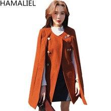 HAMALIEL осень-зима шерстяное двубортный плащ верхняя одежда взлетно-посадочной полосы Для женщин твид с рукавами «летучая мышь» пончо накидка теплая шерсть пальто