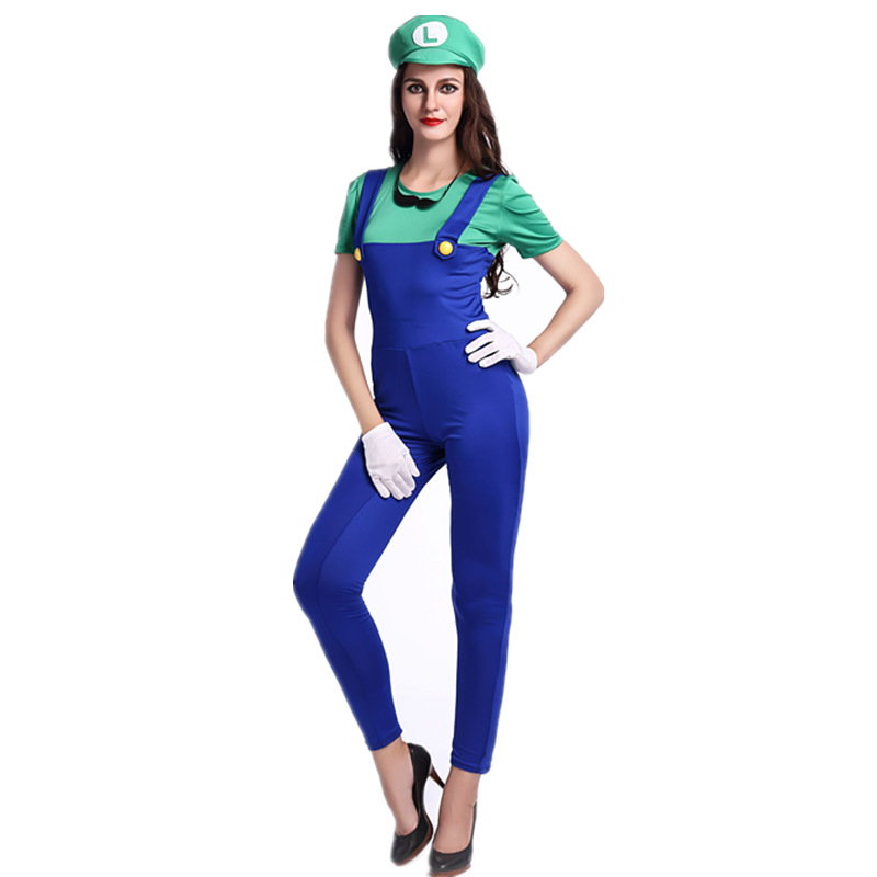 2016 New 2 Pcs Adult Super Mario Costumes Women Clothing Sexy Plumber Costume Super Mario Bros Costumes Jumpsuits For Halloween