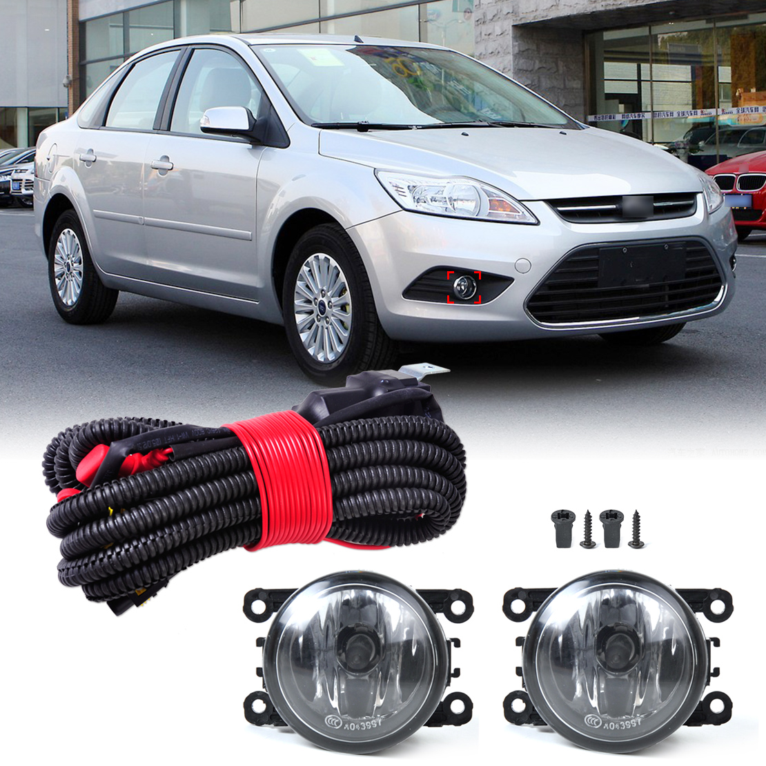 beler 1 Set H11 Wiring Harness Sockets Wire Connector + 2 Fog Lights Lamp for Ford Focus Honda CR-V Pilot Acura TSX Nissan for lincoln ls 2005 2006 h11 wiring harness sockets wire connector switch 2 fog lights drl front bumper led lamp