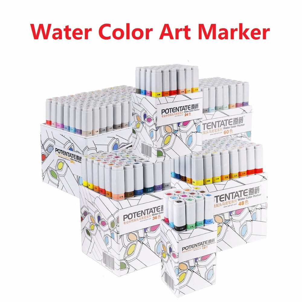 POTENTATE Water Color Art Marker Pen 12/24/36/48/60/84 Colors Set Paint Marker Double slider Arts Supplies For Design Drawing touchnew 60 colors artist dual head sketch markers for manga marker school drawing marker pen design supplies 5type