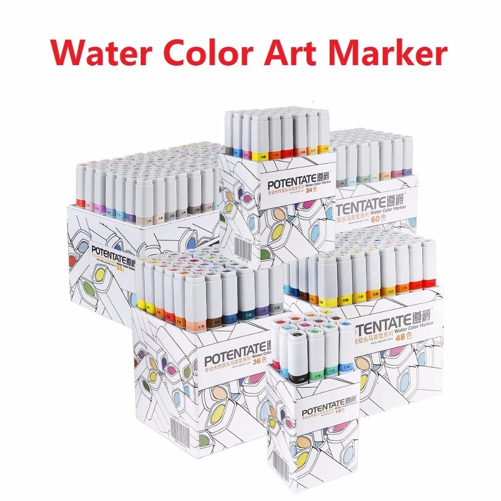 POTENTĀTS Ūdens krāsas mākslas marķiera pildspalva 12/24/36/48/60/84 krāsu komplekts Paint Marker Double Slīdņa mākslas piederumi dizaina zīmēšanai