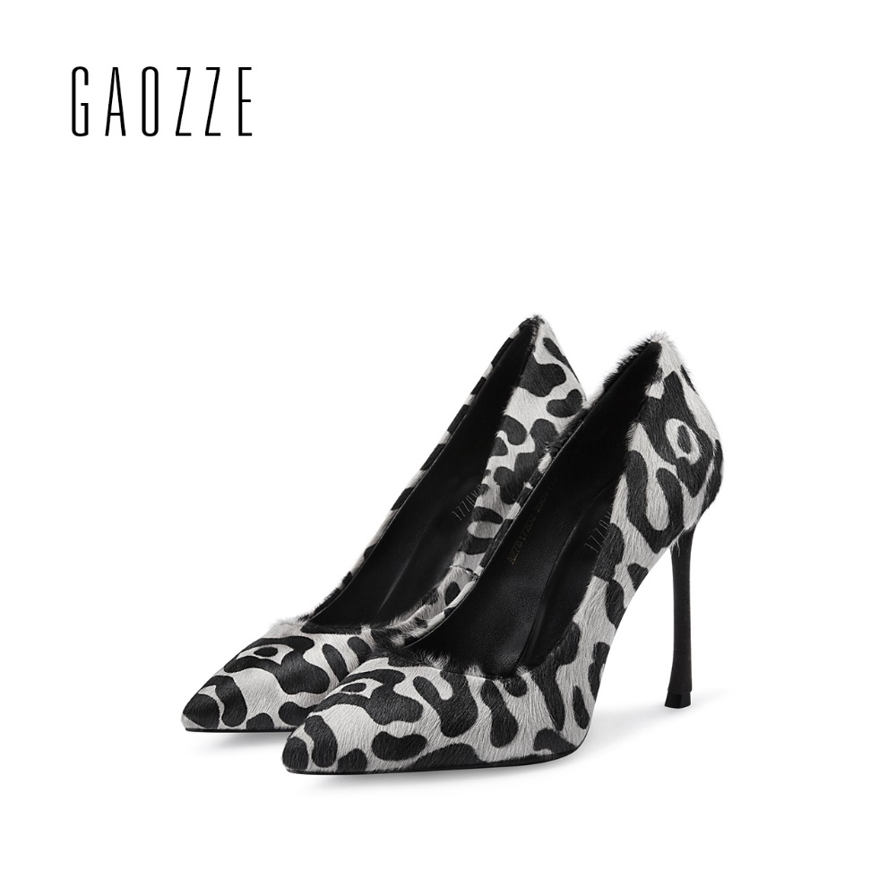 GAOZZE sexy high heels pumps pointed toe party shoes Leopard shallow mouth thin high heel women's shoes luxury 2017 autumn new burgundy gray saphire blue pink women dress party career work shoes flock shallow mouth stiletto thin high heel pumps