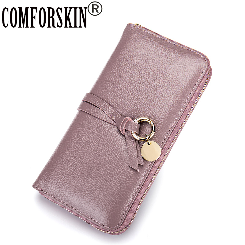 COMFORSKIN Brand Minimalist Leather Wallet Women Long Zipper Wallets 2018 Hot Sales Cowhide Solid Womens Wallets and Purses