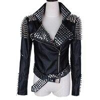 Big size Autumn Black leather jacket Rivet Metallic PU leather jacket women Short Motorcycle coat spring women leather jacket