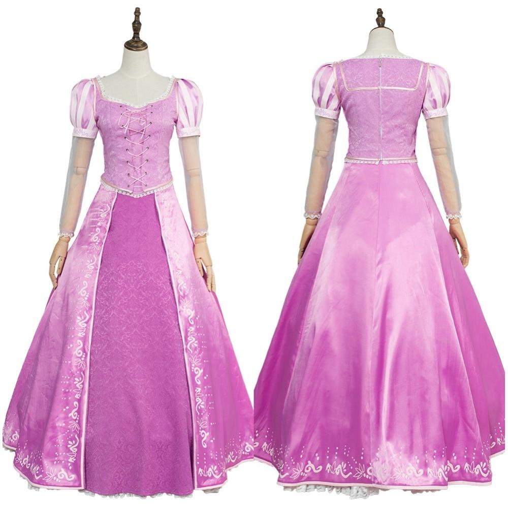 Tangled Princess Rapunzel Costume Adult Women Pink Dress Cosplay Costume Version 2 Halloween Carnival Cosplay
