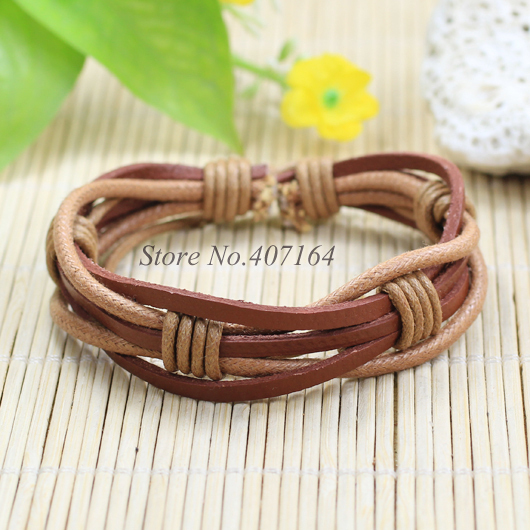 SF124-Jewelry Items Multi Layers braided thin Genuine Leather Bracelet Men Unisex Wristband For Women