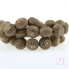 2016 Acrylic Imitation Natural Wood Beads Heart Pattern Flat Round 14*10mm Spacer Beads DIY Charm Necklace Bracelet