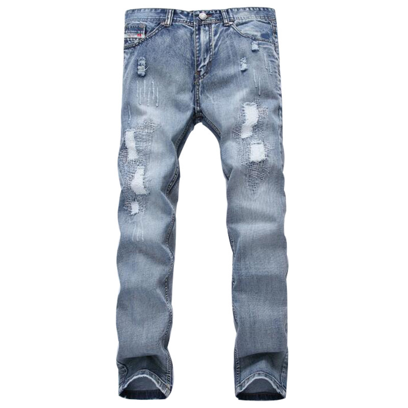 US $25.56 45% OFF|Mode Marke Designer Herren Ripped Jeans Hosen Hellblaue Dünne Fit Distressed Denim Joggers Männlich Plus Größe 42 Zerrissen Jean