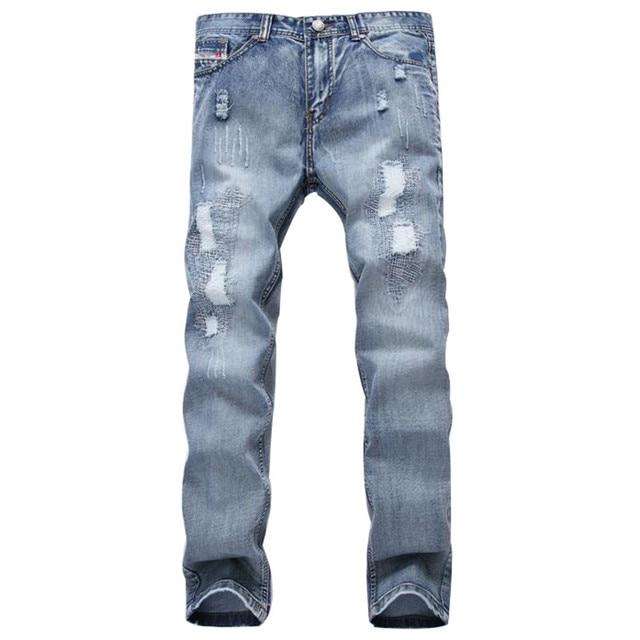 c4dc25be881c Mode Marke Designer Herren Ripped Jeans Hosen Hellblaue Dünne Fit  Distressed Denim Joggers Männlich Plus Größe