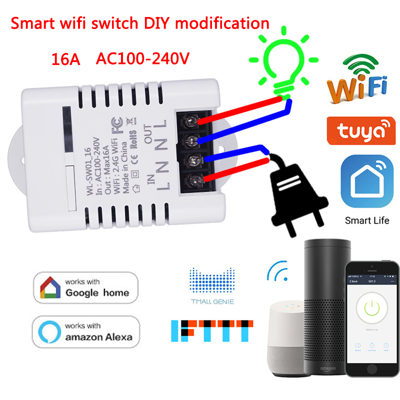 WiFi Smart Remote Control Switch DIY Modification 16A Tuya Smart Life App Work With Amazon Alexa & Echo Dot Google home IFTTT in Home Automation Modules from Consumer Electronics