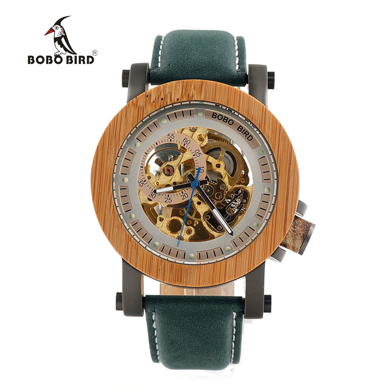 ФОТО BOBO BIRD Luxury Brand Men's Mechanical Watches Bamboo Wood Watches Genuine Leather Strap relogio masculino Wood Watch Boxes K13